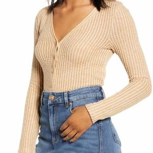 BP. Button Front Long Sleeve Crop Waffle Knit Top
